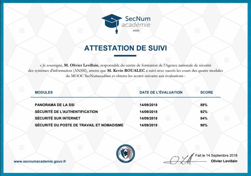 Certificat ANNSI- SecNum Académie - Cybersécurité