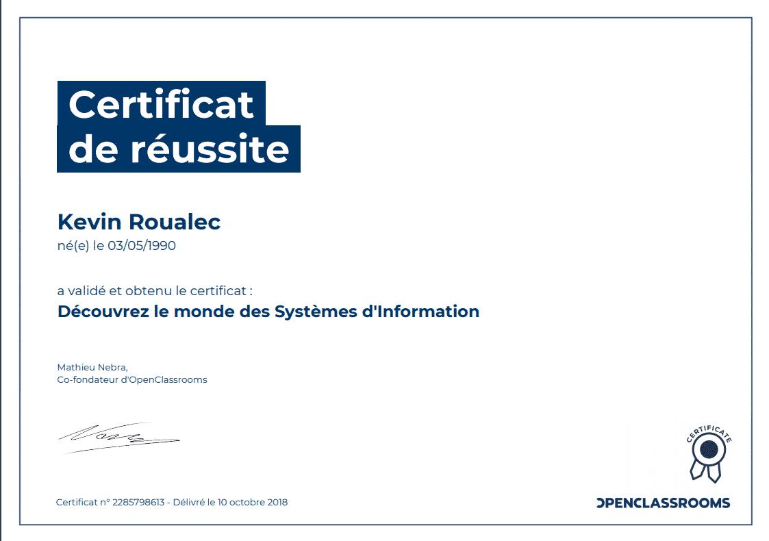 Certificat Openclassrooms - Découvrez le monde des Systèmes d'Information