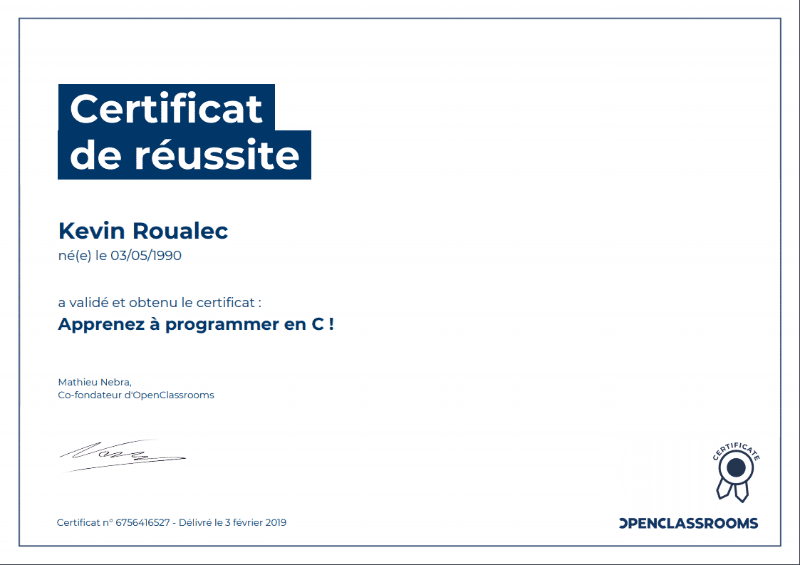 Certificat Openclassrooms - Apprenez a programmez en C