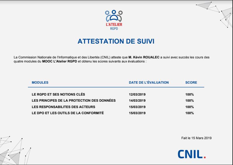 Certificat de la CNIL - Atelier de formation sur le RGPD (GPDR)