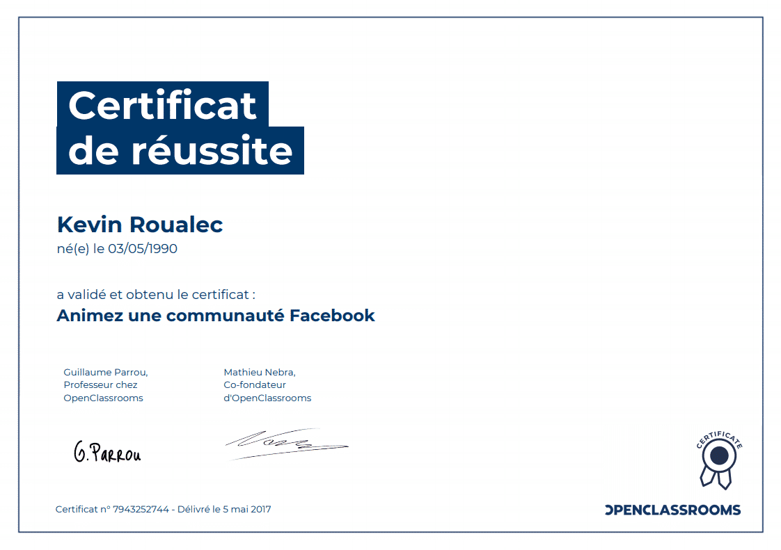 Certificat Openclassrooms - Animez une communauté Facebook