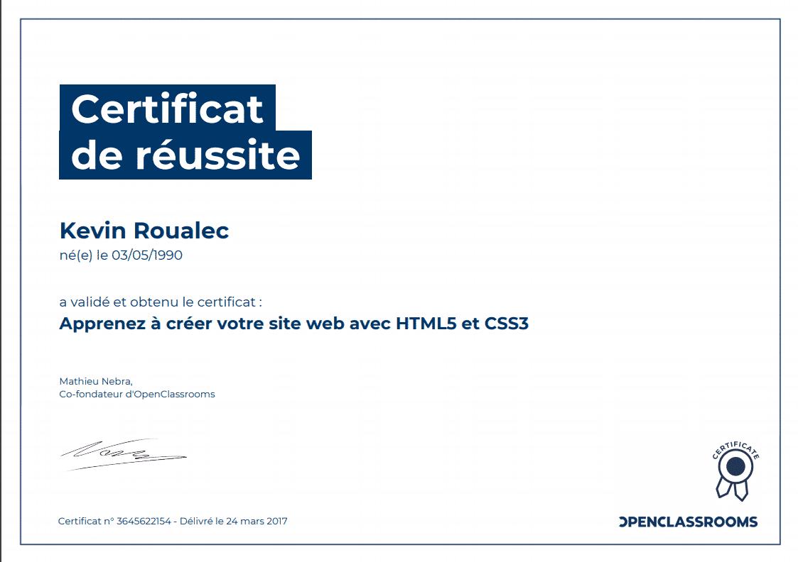 Certificat Openclassrooms - Apprenez à créer votre site web avec HTML5 et CSS3