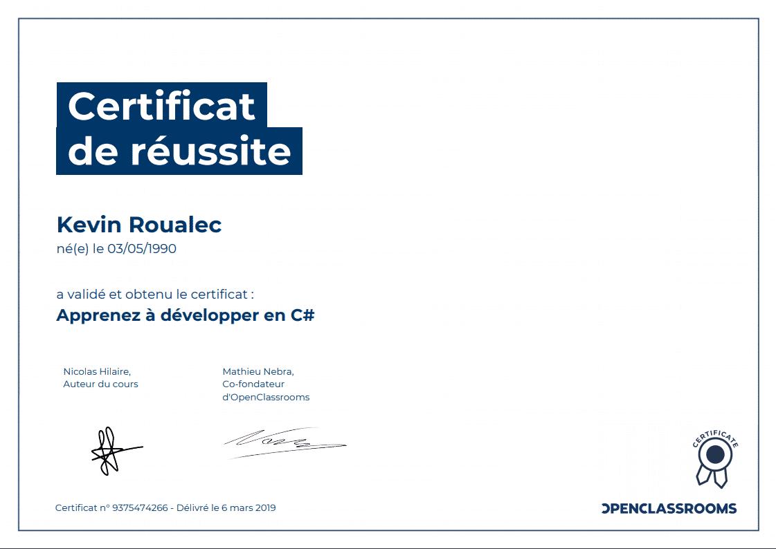 Certificat Openclassrooms - Apprenez à développez en C#