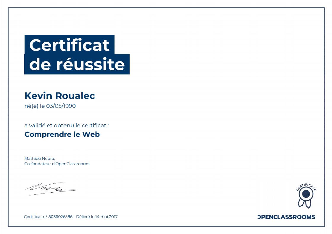 Certificat Openclassrooms - Comprendre le Web