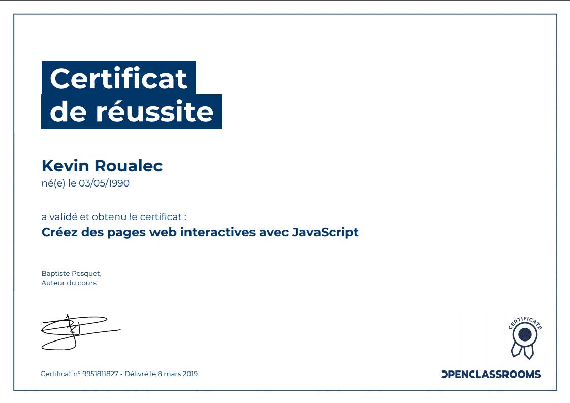 Certificat Openclassrooms - Créez des web interactives avec Javascript