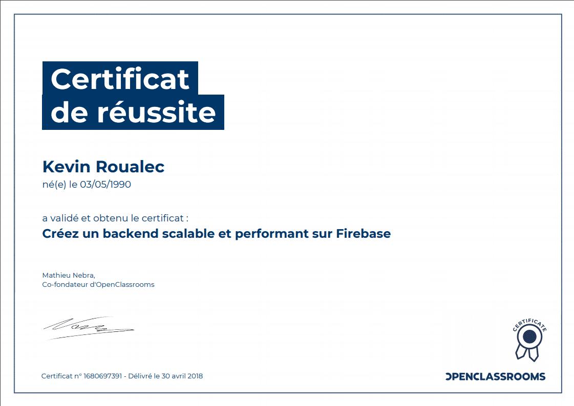 Certificat Openclassrooms - Créez un backend scalable et performant sur Firebase