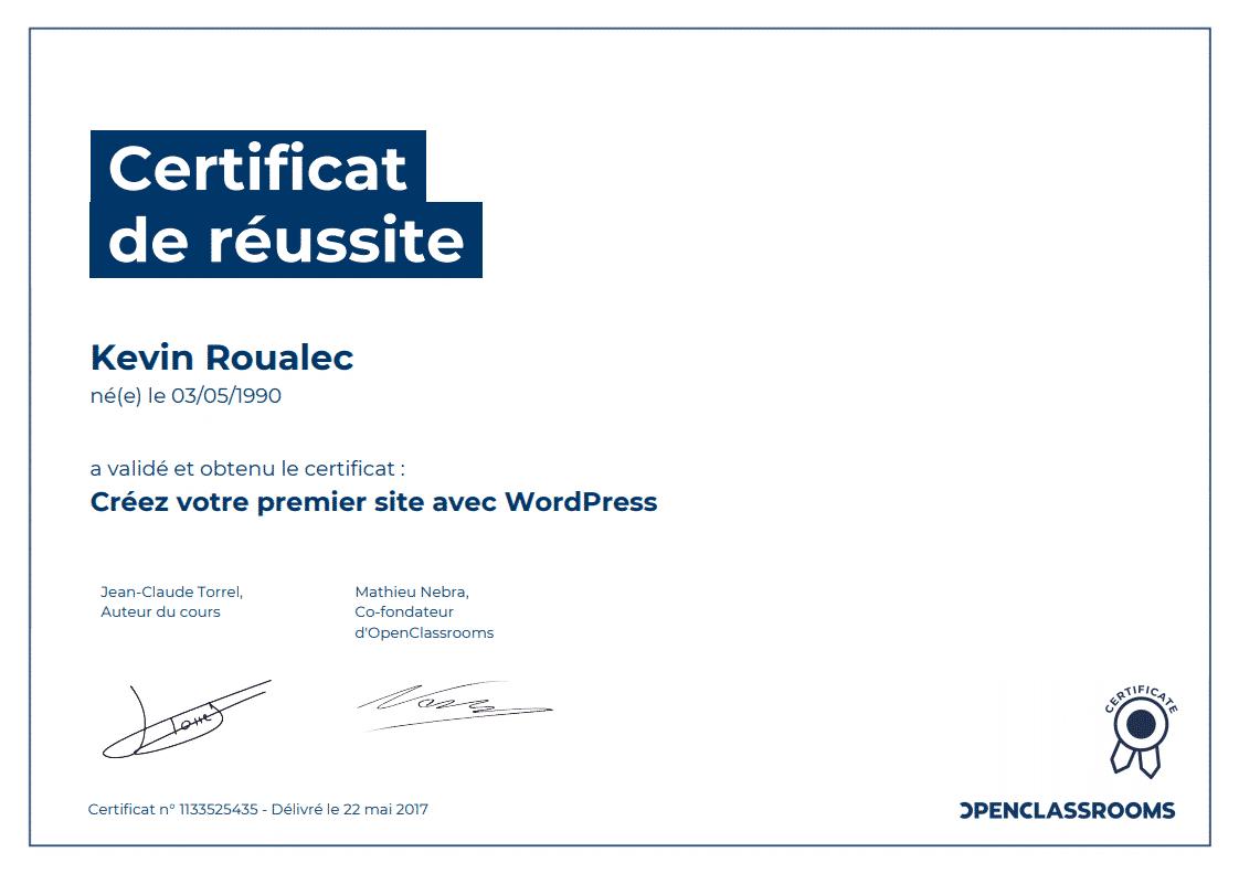 Certificat Openclassrooms - Créez votre premier site avec WordPress