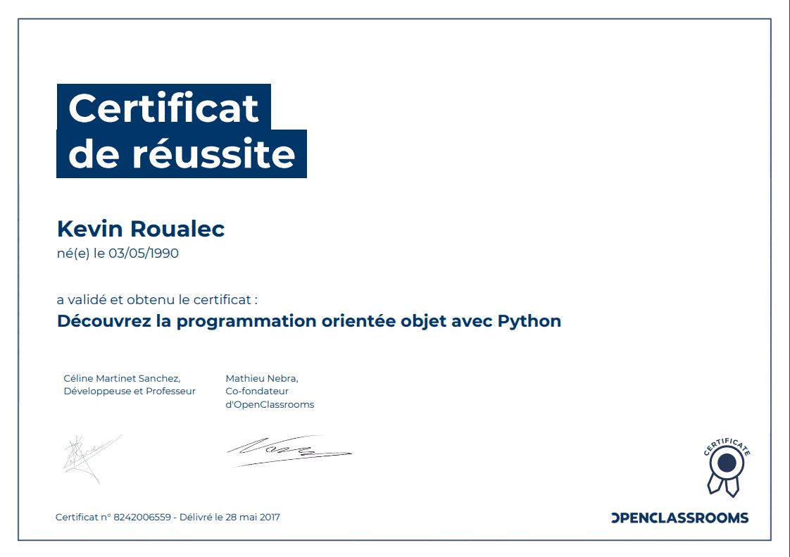 Certificat Openclassrooms - Découvrez la programmation orientée objet avec Python