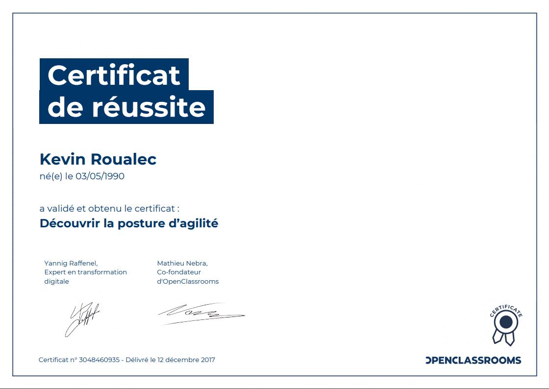 Certificat Openclassrooms - Découvrir la posture d'agilité