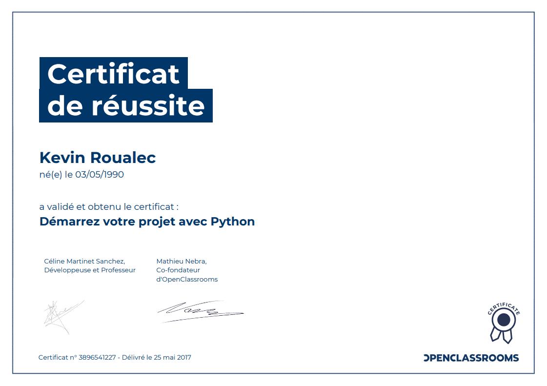 Certificat Openclassrooms - Démarrez votre projet avec Python