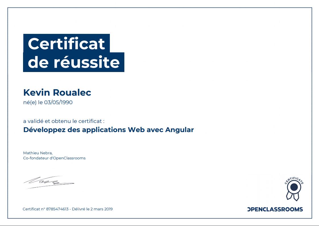 Certificat Openclassrooms - Développez des applications Web avec Angular