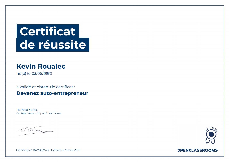 Certificat Openclassrooms - Devenez auto-entrepreneur