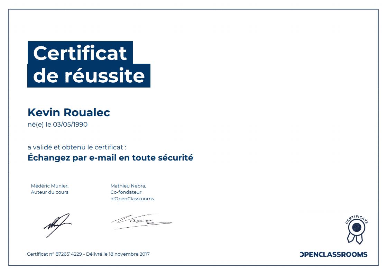 Certificat Openclassrooms - Échangez par e-mail en toute sécurité