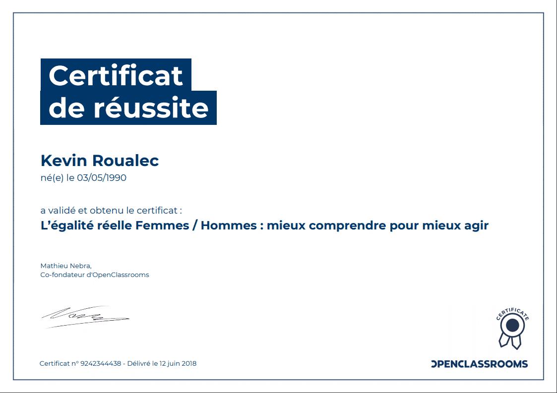 Certificat Openclassrooms - L'égalité Femmes / Hommes