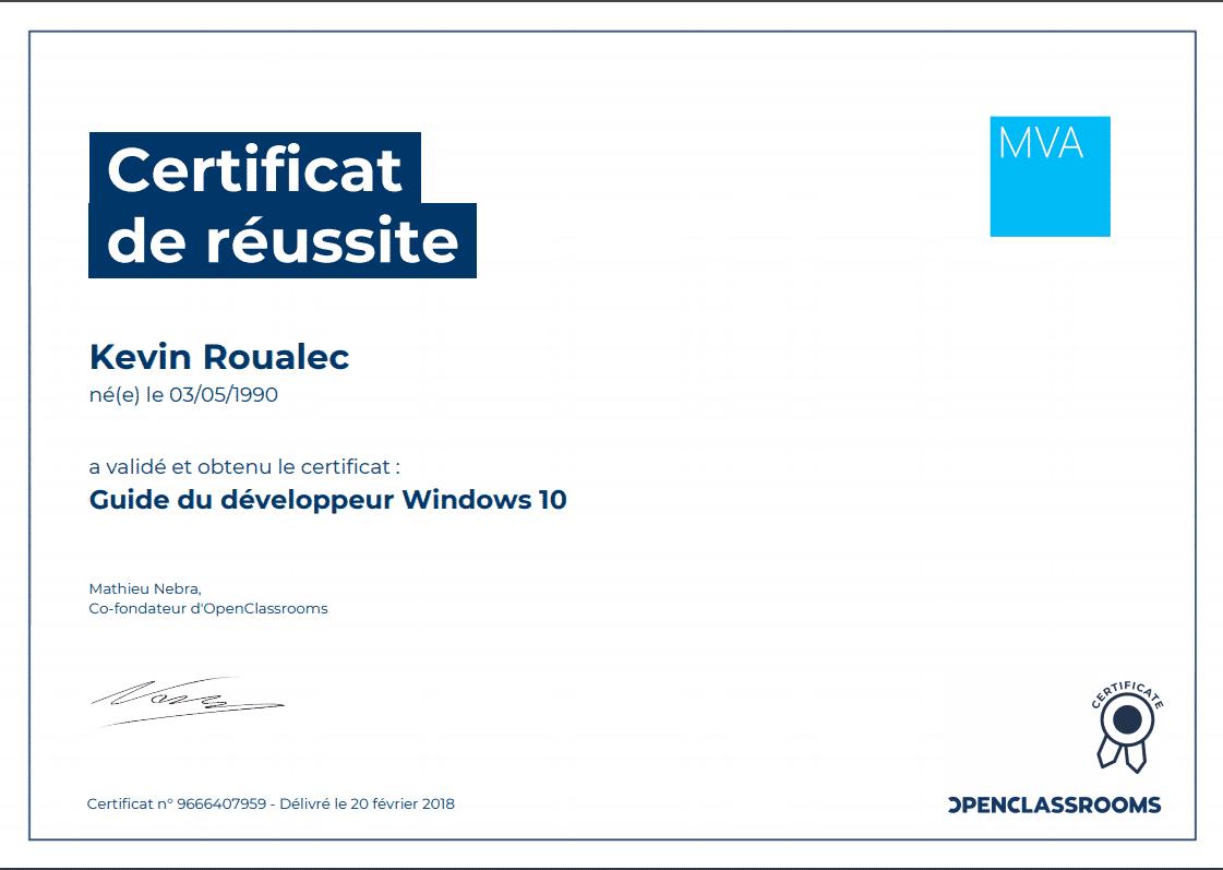 Certificat Openclassrooms - Guide du développeur Windows 10