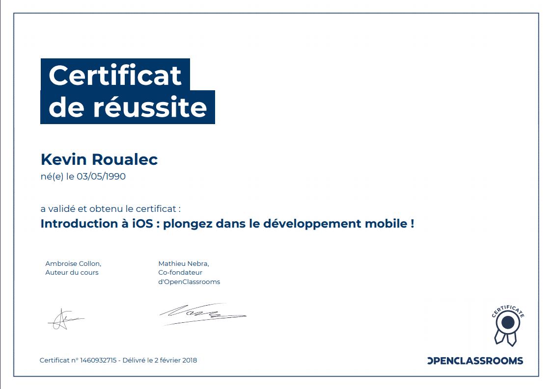 Certificat Openclassrooms - Introduction à IOS : plongez dans le développement mobile !