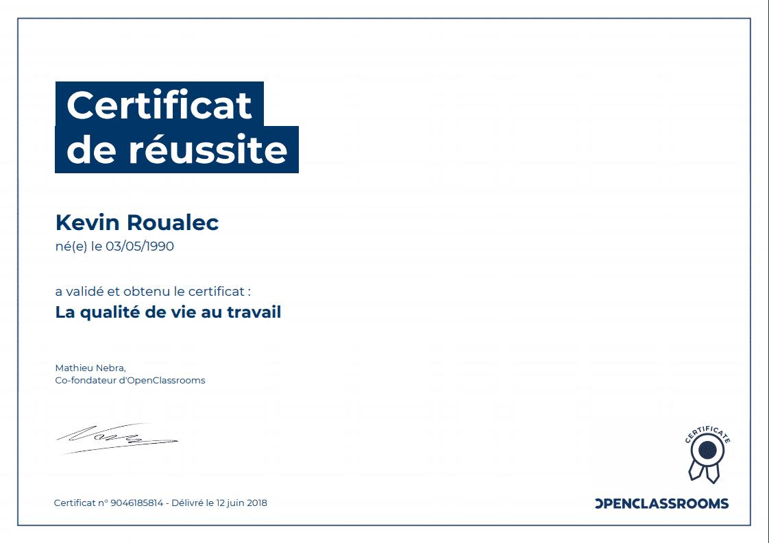 Certificat Openclassrooms - La qualité de vie au travail