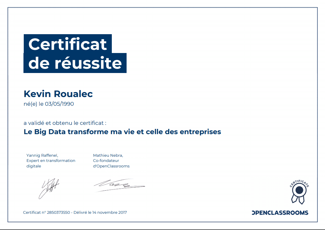 Certificat Openclassrooms - Le Big Data transforme ma vie et celle des entreprises