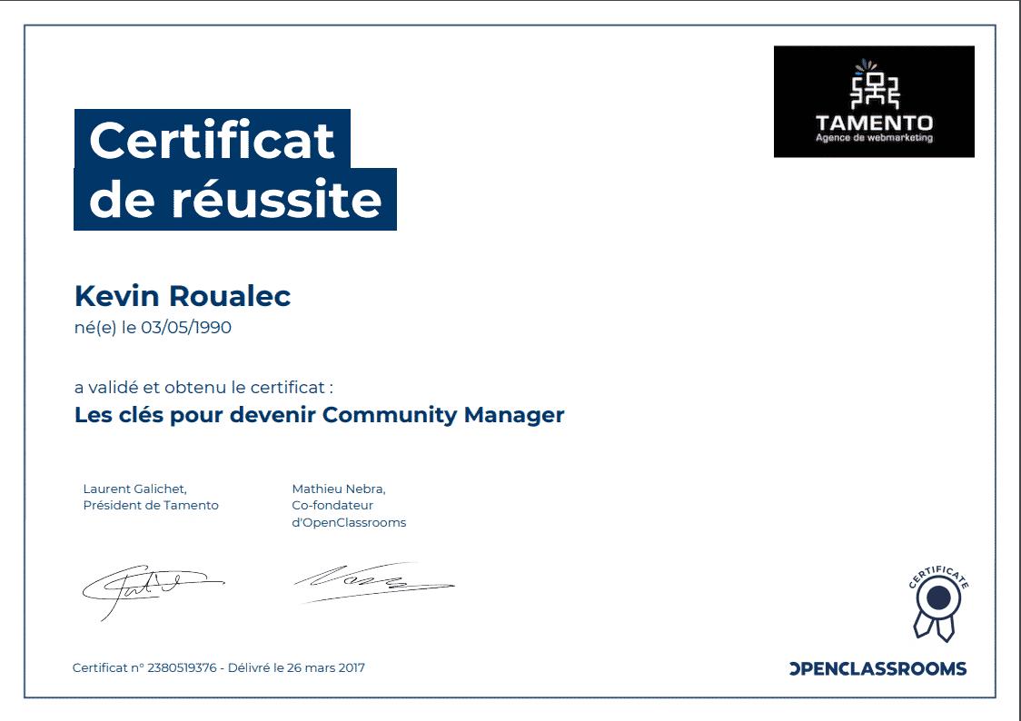 Certificat Openclassrooms - Les clés pour devenir Community Manager