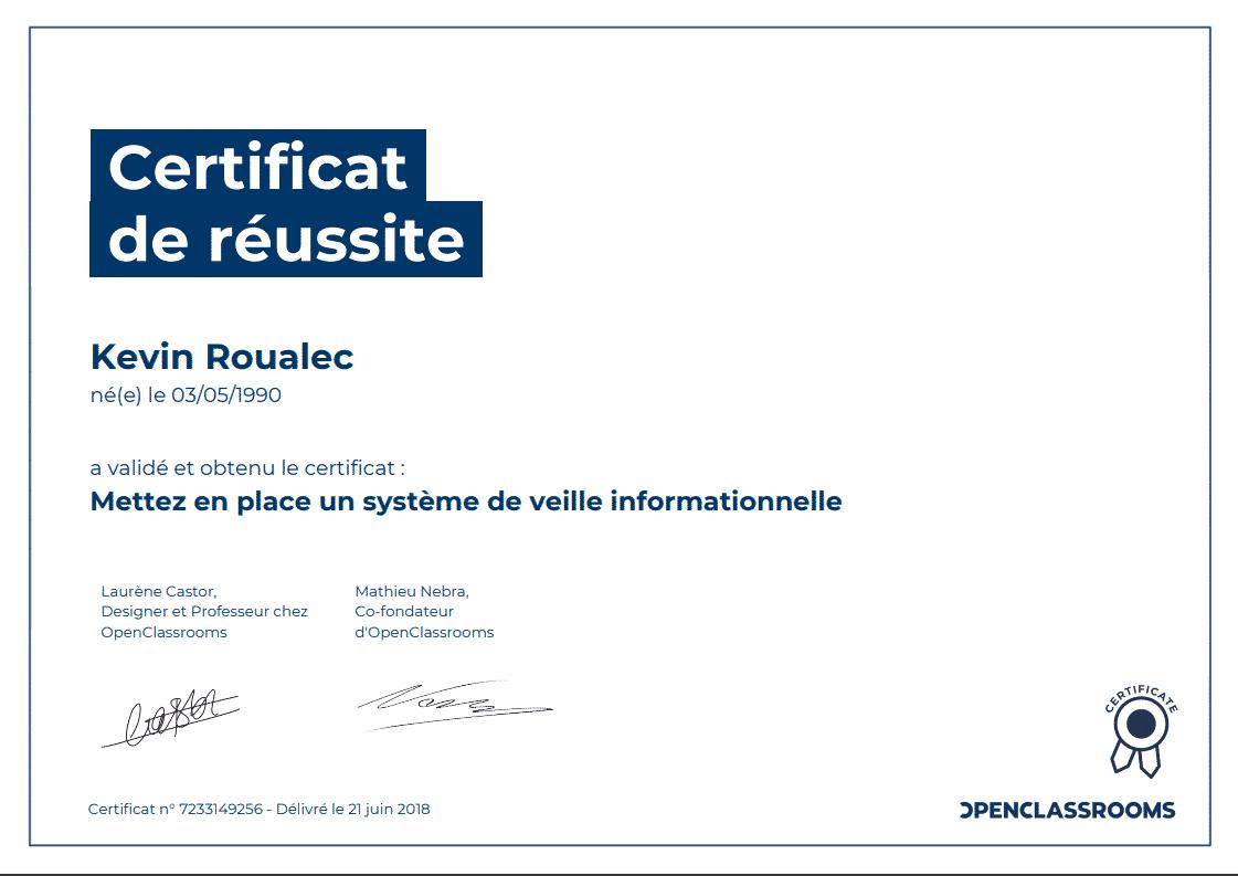 Certificat Openclassrooms - Mettez en place un système de veille informationnelle