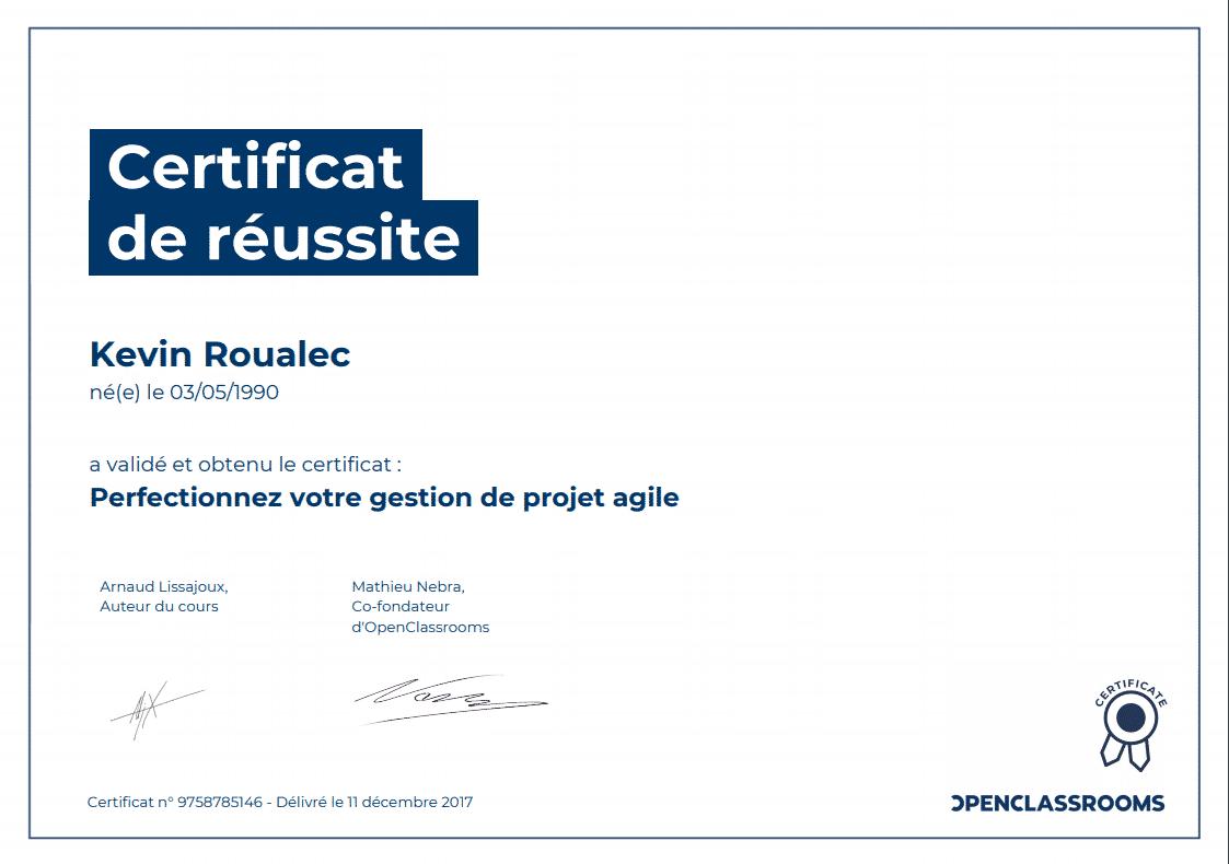 Certificat Openclassrooms - Perfectionnez votre gestion de projet agile