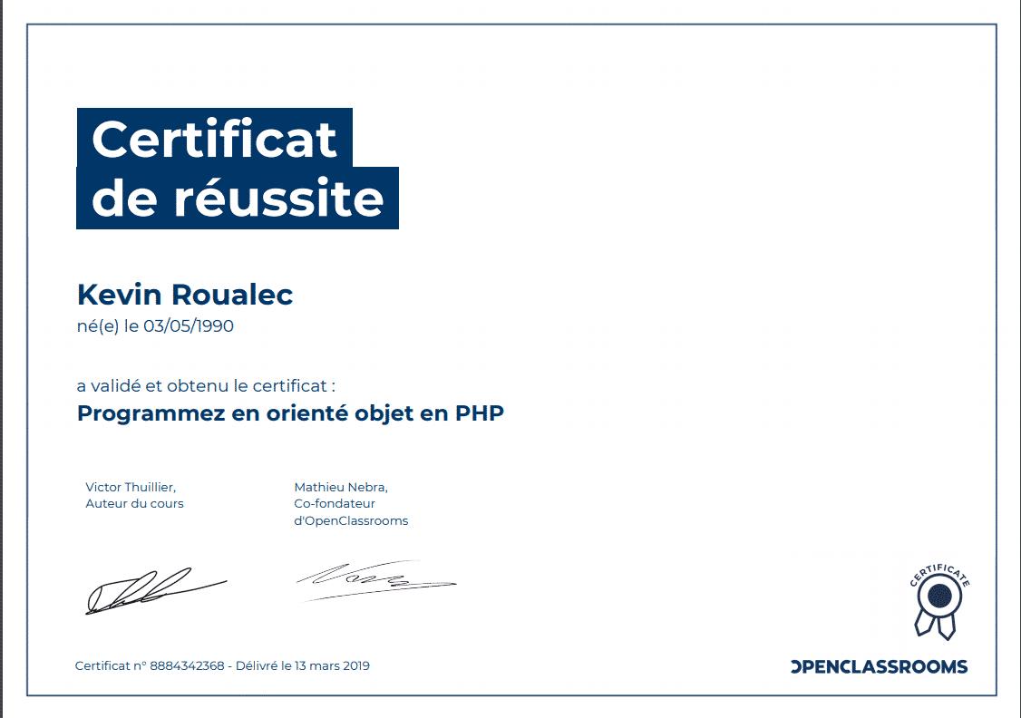 Certificat Openclassrooms - Programmez en orienté objet avec PHP