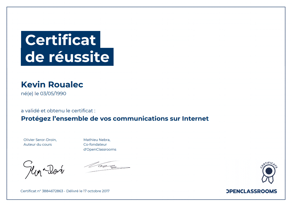 Certificat Openclassrooms - Protégez l'ensemble de vos communications sur Internet