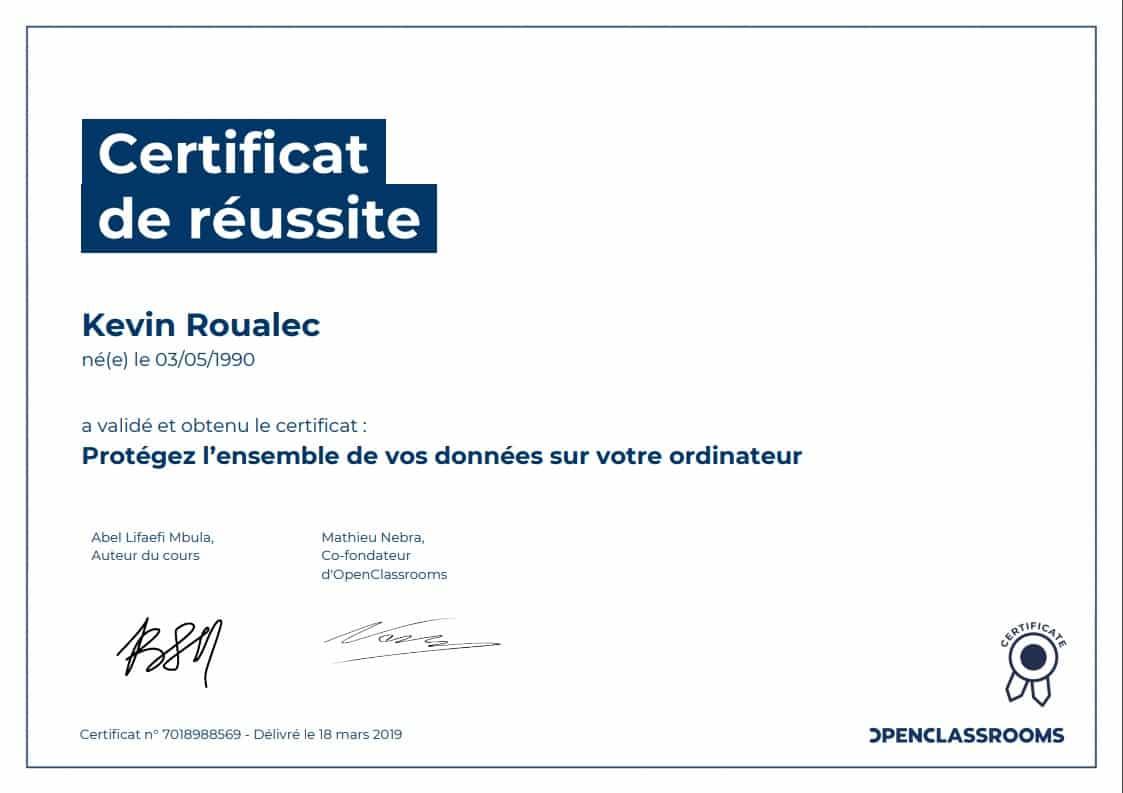 Certificat Openclassrooms - Protégez l'ensemble de vos données sur votre ordinateur
