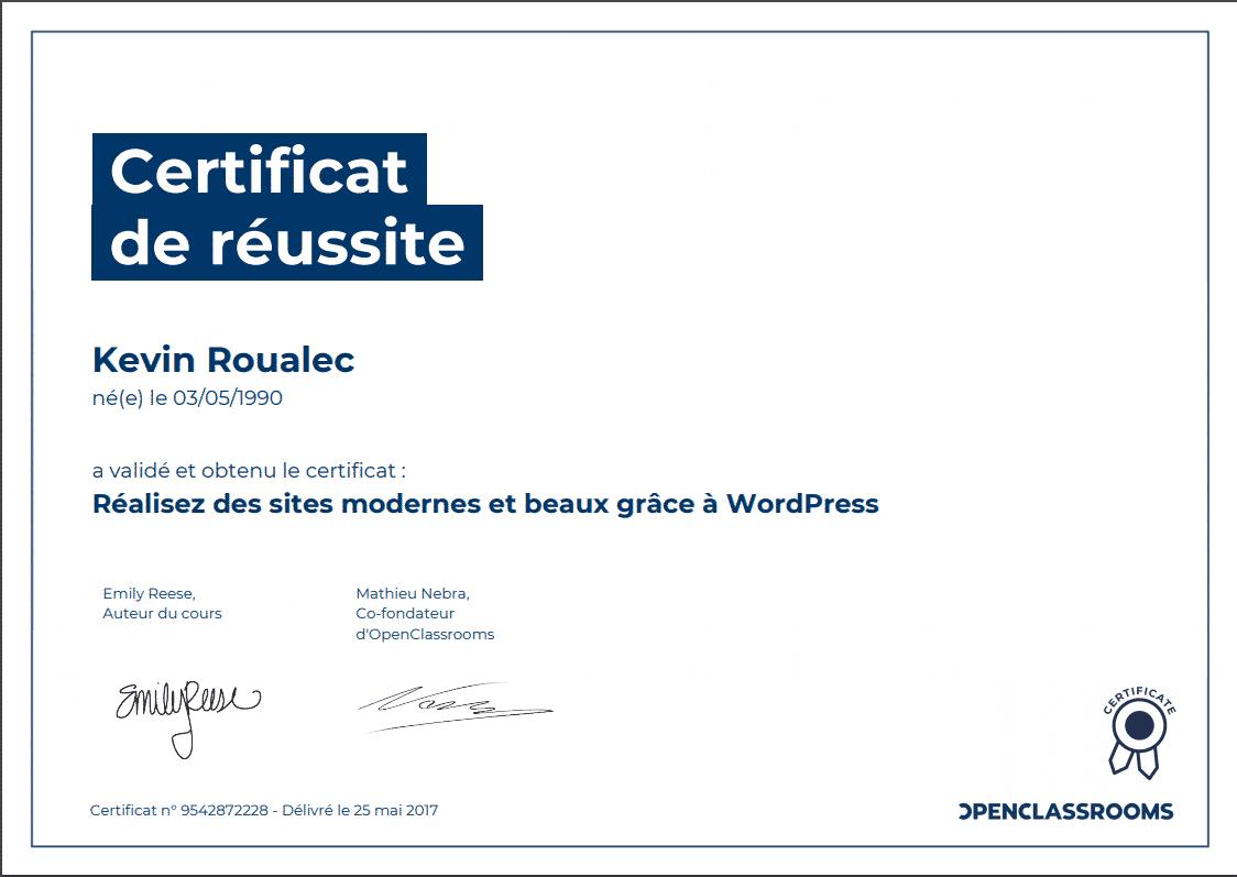 Certificat Openclassrooms - Réalisez des sites modernes et beaux grâce à WordPress