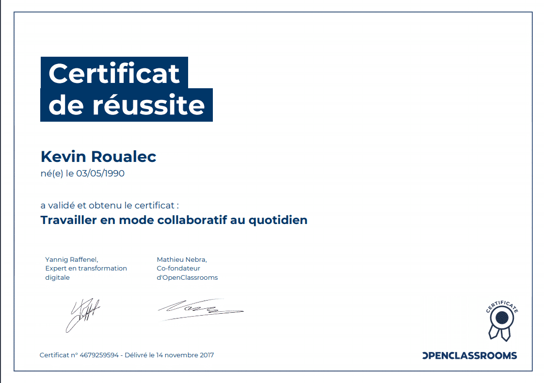 Certificat Openclassrooms - Travailler en mode collaboratif au quotidien