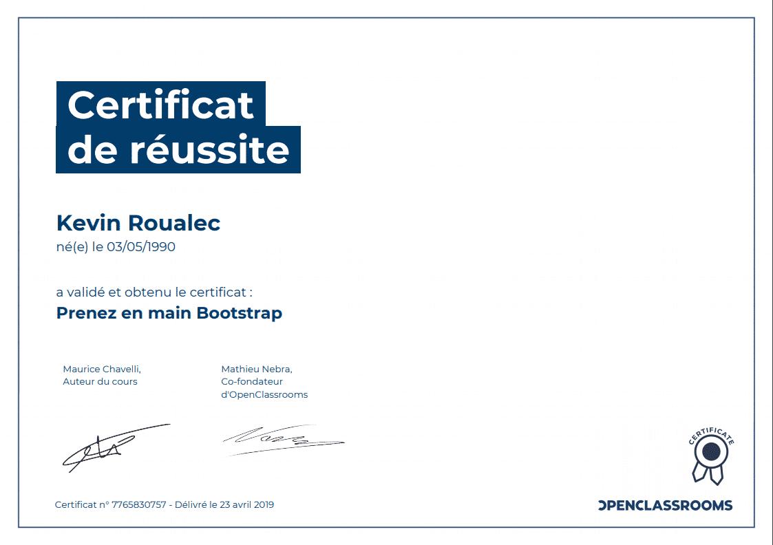 Certificat Openclassrooms - Prenez en main Bootstrap
