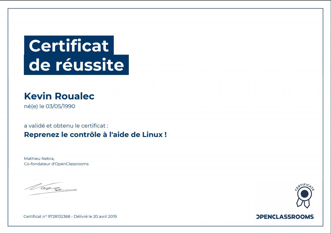 Certificat Openclassrooms - Reprenez le contrôle à l'aide de Linux