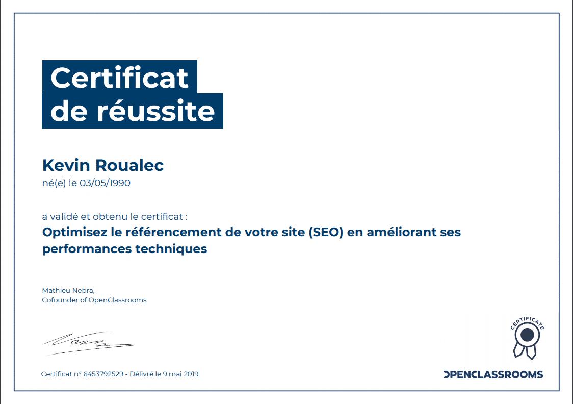 Certificat Openclassrooms - Optimisez le référencement de votre site (SEO) en améliorant ses performances techniques