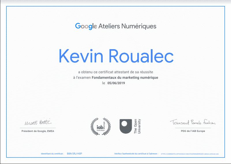 Certificat formation Google - Les fondamentaux du marketing numérique