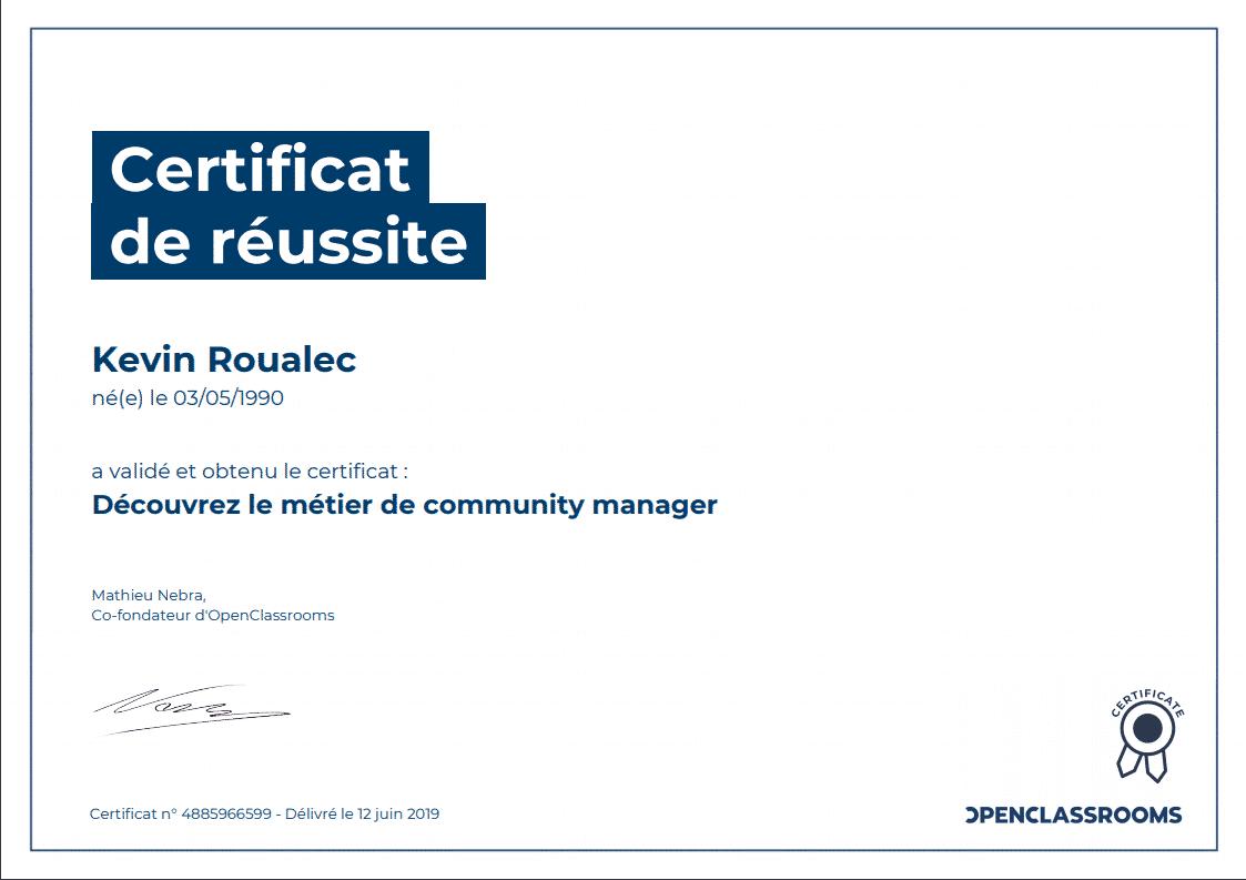 Certificat Openclassrooms - Découvrez le métier de Community Manager