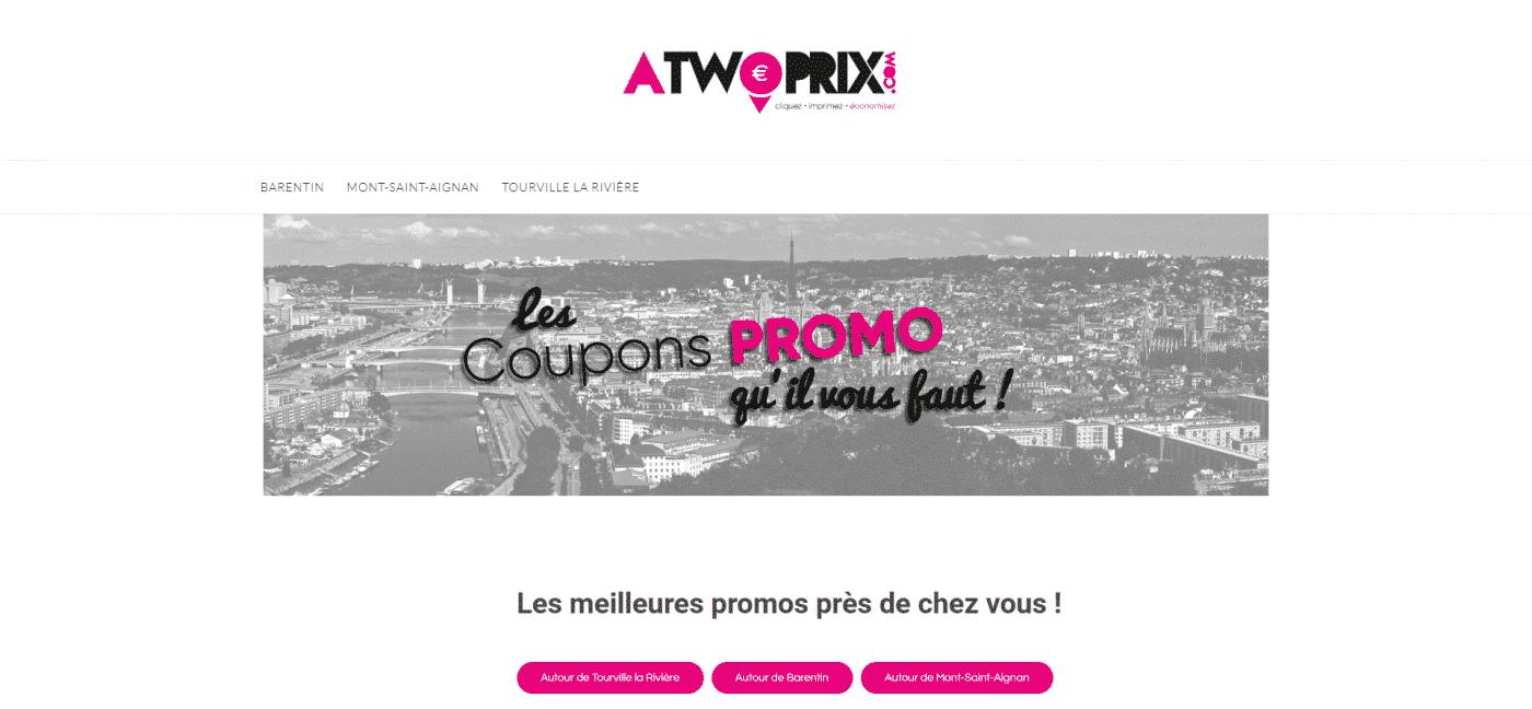 Aperçu du site web Atwoprix