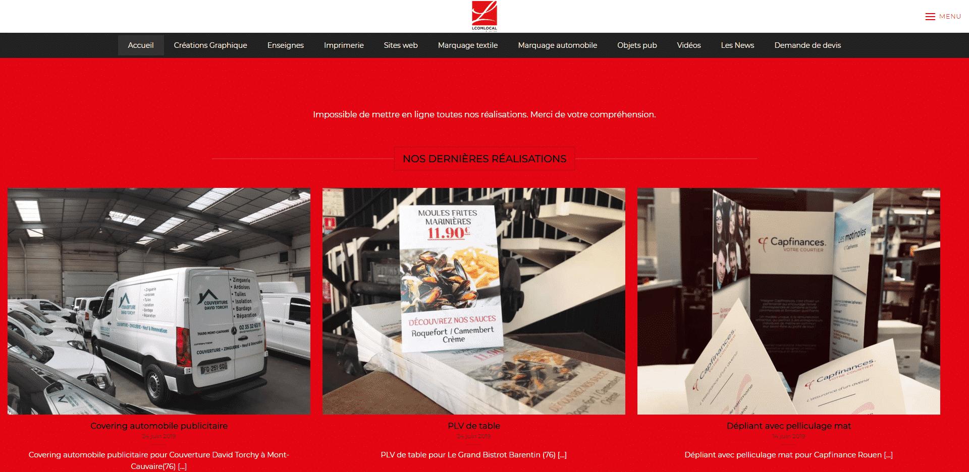 Aperçu du site web des réalisations de l'agence LCOMLOCAL