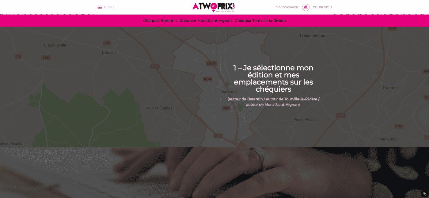 Aperçu du site web résérvations pour Atwoprix