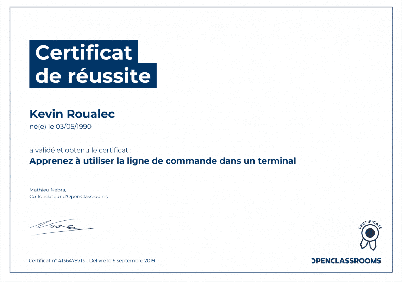 Certificat Openclassrooms - Apprenez à utiliser la ligne de commande dans un terminal
