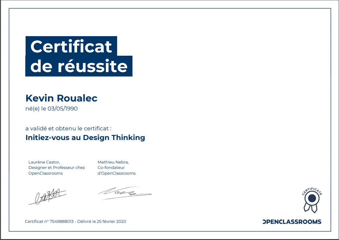 Certificat Openclassrooms - Initiez vous au Design Thinking