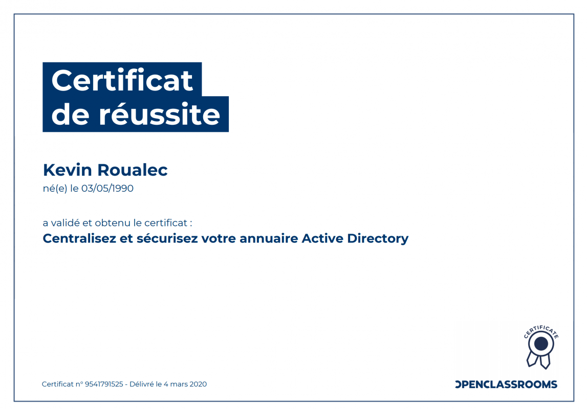 Certificat Openclassrooms - Centralisez et sécurisez votre annuaire Active Directory