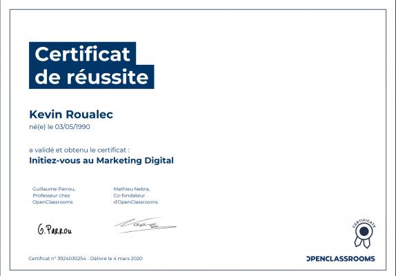 Certificat Openclassrooms - Initiez vous au Marketing Digital