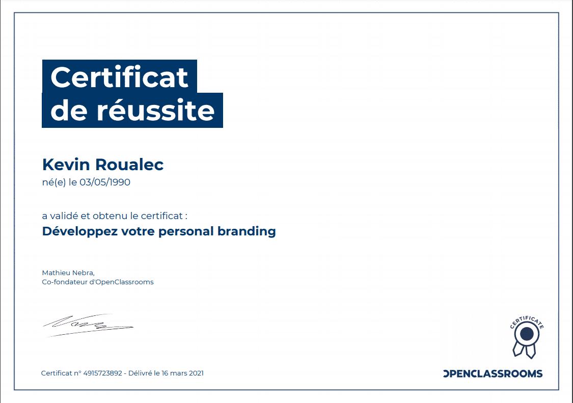 Certificat Openclassrooms - Développez votre personal branding