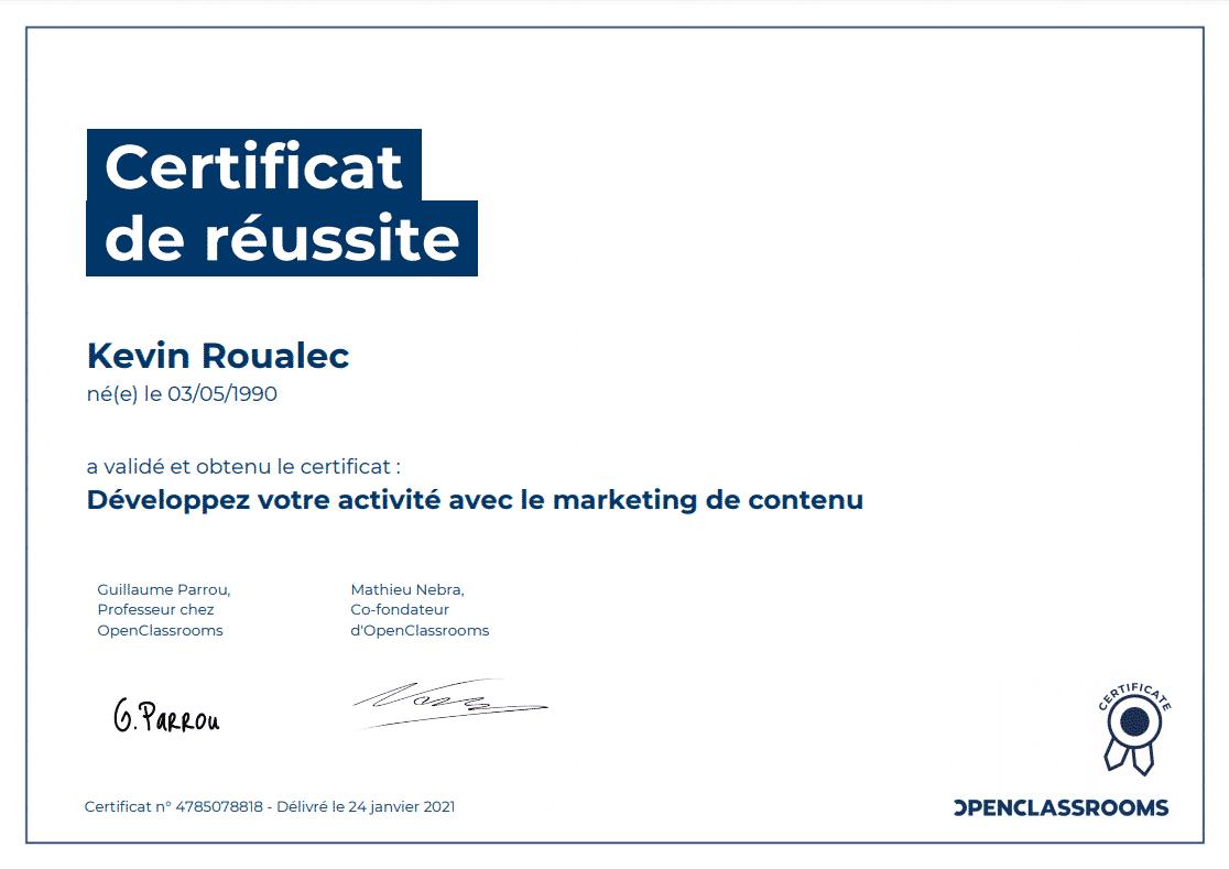 Certificat Openclassrooms - Développez votre activité avec le marketing de contenu