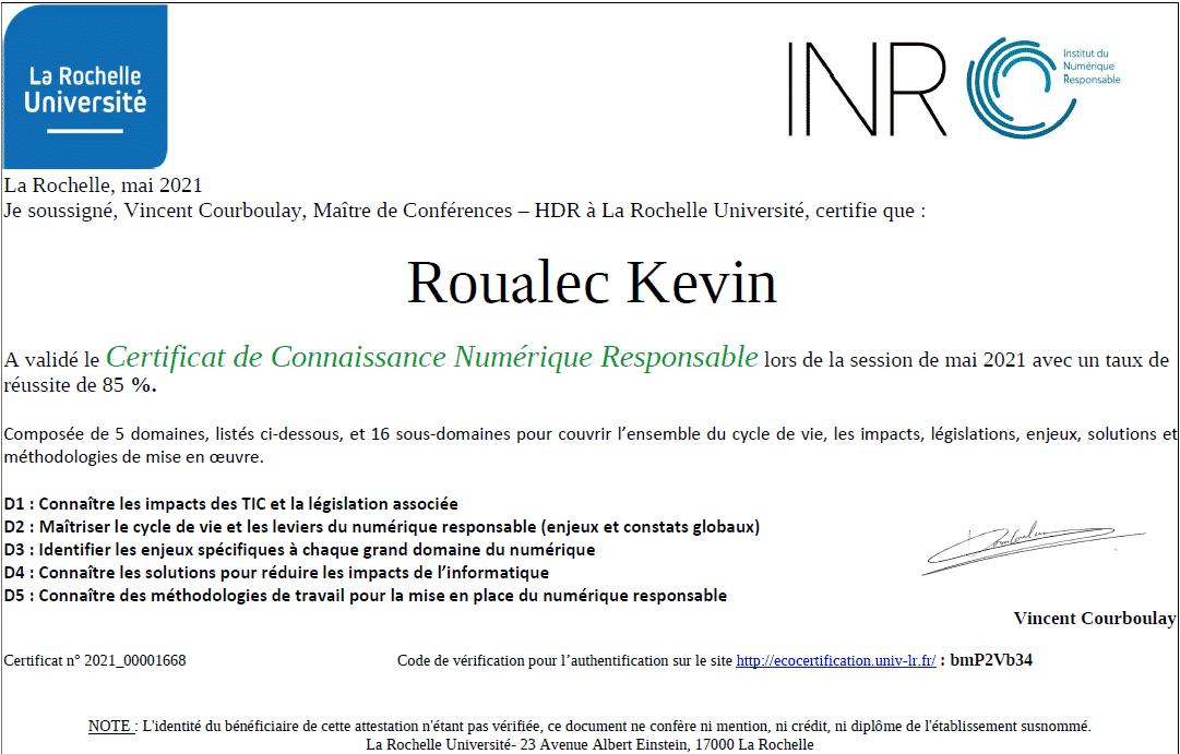 Certificat Numérique Responsable